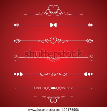 Set Calligraphic Valentine's Day Design Elements