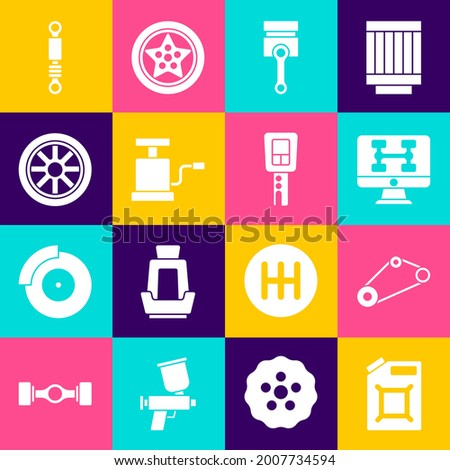 Set Canister for gasoline, Timing belt kit, Diagnostics condition of car, Engine piston, Car air pump, wheel, Shock absorber and key with remote icon. Vector Photo stock ©