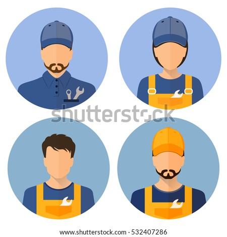 Set car icons. Repair avatar. A man and a woman. Car Repair. Icon flat style circle. Stock vector.