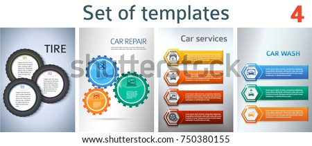 Set Car service business presentation template on steel background. Vector illustration EPS 10 for info-graphics, number options, web site, page layout firm automobile repair, brochure, web banner