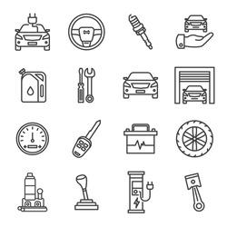 Set car service line icons. Set vector illustration. Editable stroke.