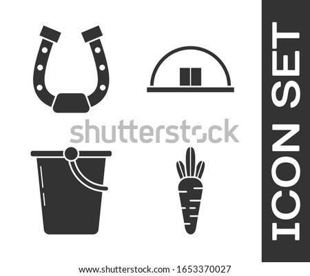 Set Carrot, Horseshoe, Bucket and Hangar icon. Vector