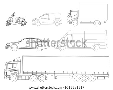 Set cars outline. Logistics transport. Side view truck trailer, Semi truck, cargo delivery, van, minivan and scooter. Blank Freight delivery trucks.