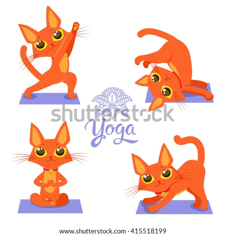 set cartoon funny cats icons doing yoga position vector
