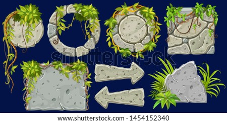 Set cartoon game wooden and stone boards in jungle style with space for text. Isolated gui panels with tropical lianas and rocks. Vector illustration on dark background.
