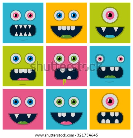 set cartoon monster faces
