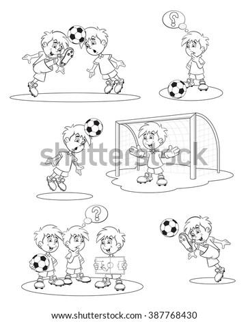 set cartoon soccer players