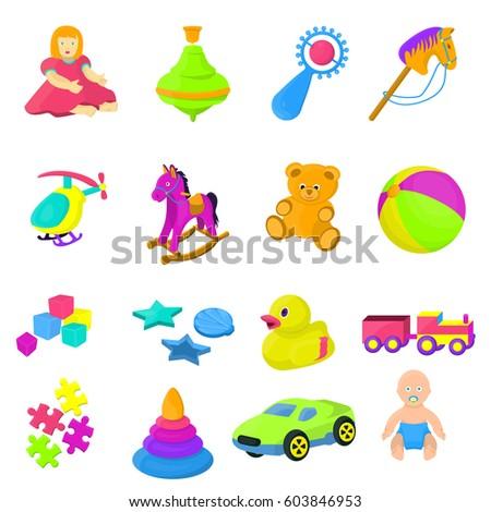 Set 16 Cartoon Vector Kids Toys
