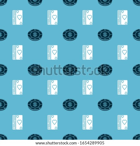 Set Casino chip with dollar symbol and Deck of playing cards on seamless pattern. Vector
