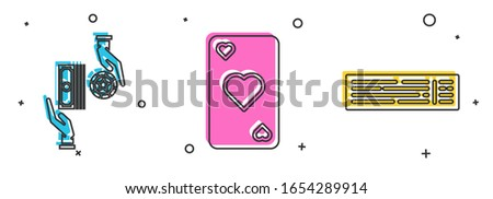 Set Casino chips exchange on stacks of dollars, Playing card with heart symbol and Deck of playing cards icon. Vector