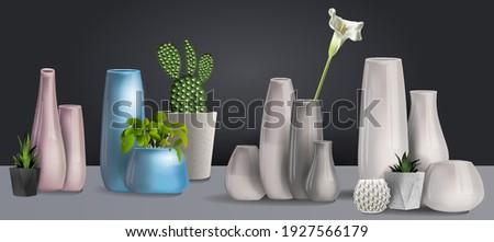 set ceramic white vase 3d