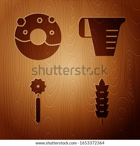 Set Cereals with rice, wheat, corn, oats, rye, Donut with sweet glaze , Pizza knife  and Measuring cup on wooden background. Vector