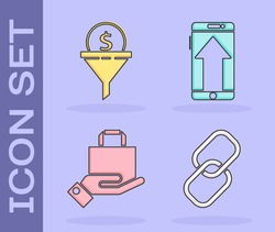 Set Chain link, Lead management, Hand and paper shopping bag and Smartphone, mobile phone icon. Vector