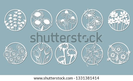 Set. Chamomile, Echinacea, dandelion, chrysanthemum, noble hepatica, stokesia, Lily, leaves, grass.  circle, mugs,. Abstract circles, balls Vector illustration of a laser cutting Plotter cutting