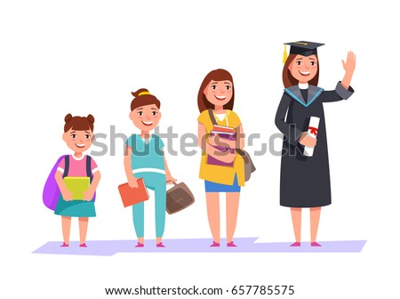 Set character different ages elementary school girl,secondary schoolgirl, students of college, university and graduate . The stages of growing up woman student
