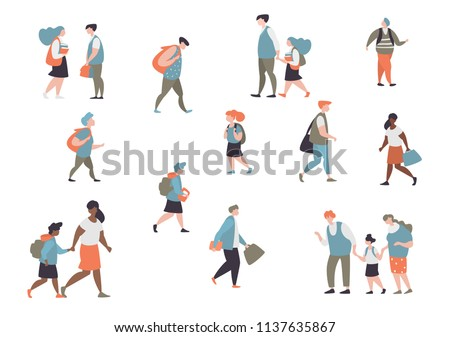Set character different student elementary school boy,secondary schoolboy, students of college, university and graduate go to school isolated