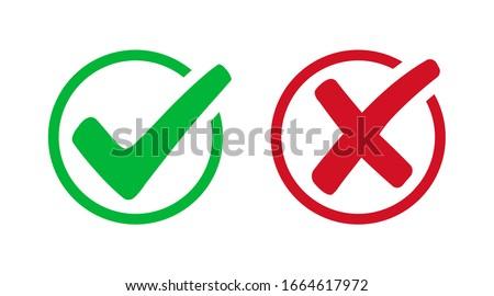 Set check mark and cross. Vector illustartion Foto stock ©