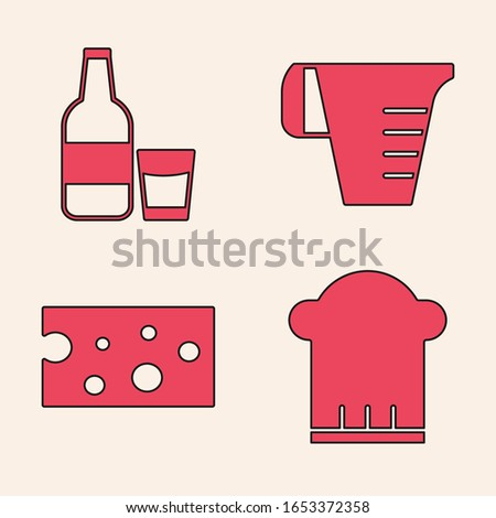 Set Chef hat , Glass bottle with milk and glass , Measuring cup and Cheese  icon. Vector