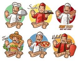 set chef italian mexican japanese american arab