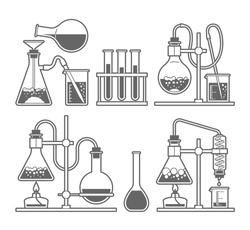 Set chemical flask. Erlenmeyer flask, distilling flask, volumetric flask, test tube. Vector illustration.