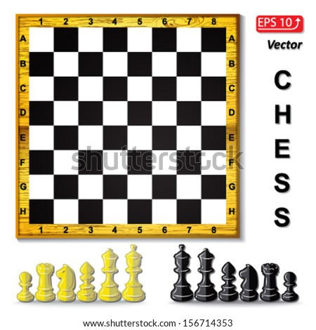 set chess board , black and white  chess pieces , chess figure , king. queen, bishop, knight , pawn, rook isolated on white background vector