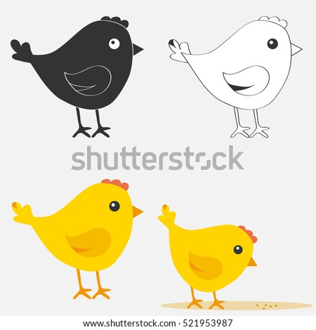 set chicken  chicken icon flat