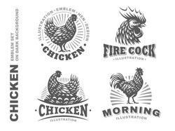 Set chicken logo, design emblem on white background