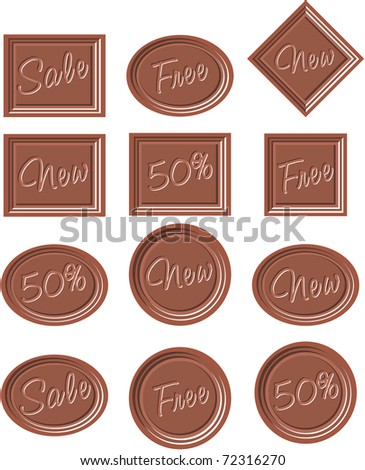 set chocolates tags - stock vector
