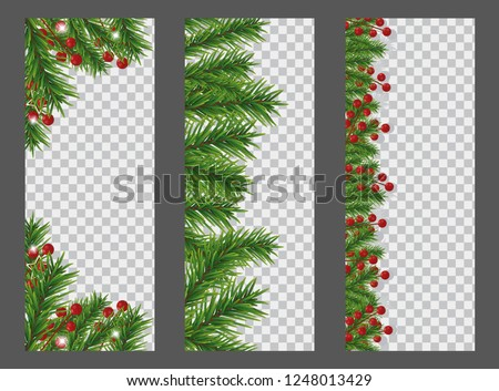 stock vector set christmas and new year vertical