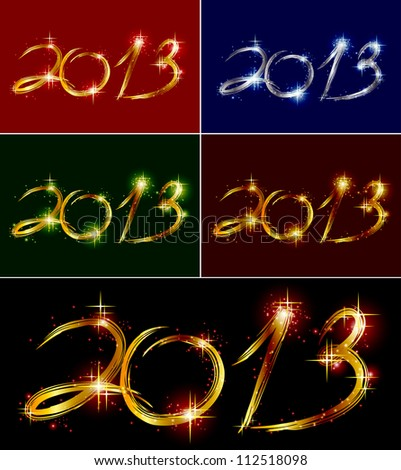 Set christmas background with glow colorful 2013. Vector illustration