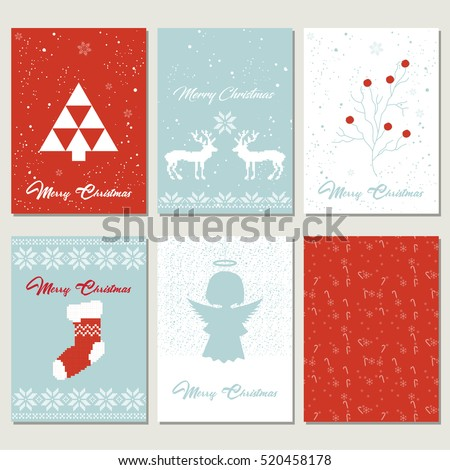Set Christmas gift tags with embroidery and knitting