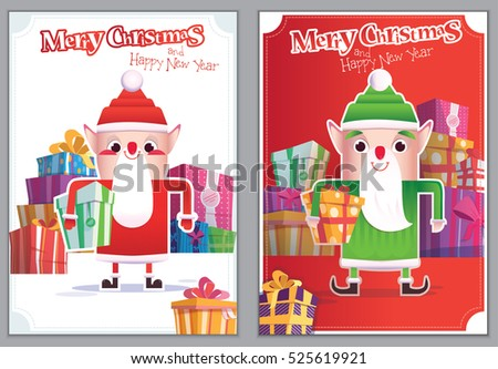 set christmas greeting card with santa helper poster layout for christmas and new year with