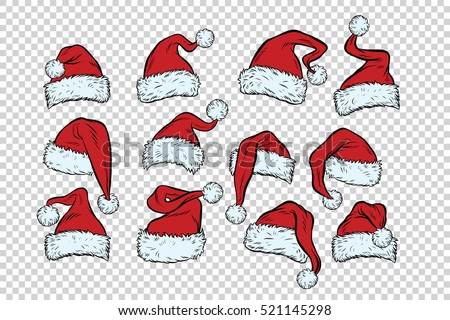 set Christmas hats Santa Claus