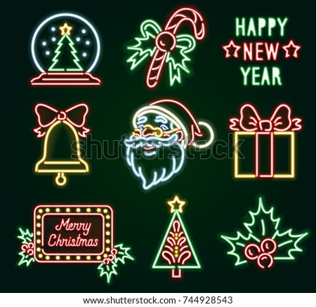 set christmas neon sign neon sign bright signboard light banner vector icons