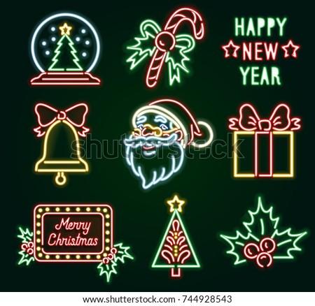 set christmas neon sign. neon...
