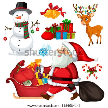 stock-vector-set-christmas-objects-and-characters-illustration