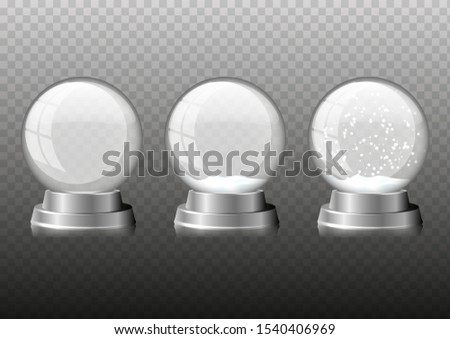 Set christmas snowglobe. Realistic illustration of christmas snowglobe vector icon for web design isolated on transparent background