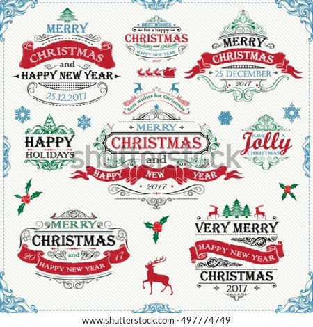 Set Christmas wishes banner frames