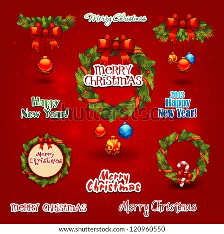 set christmas wreath, balls, label. New year Greeting Card. christmas items icons