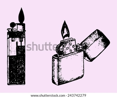 set cigar lighter isolated on