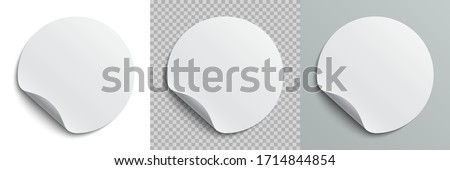 Set circle adhesive symbols. White tags, paper round stickers with peeling corner and shadow, isolated rounded plastic mockup,  realistic set round paper adhesive sticker mockup with curved corner