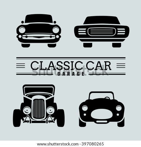 set classic car front view icon