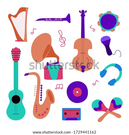 Set classical musical instruments: tambourine, harp, guitars, violin, trumpet, flute, maracas, saxophone, gramophone, ukulele, instruments cartoon vector. Modern trendy flat illustration