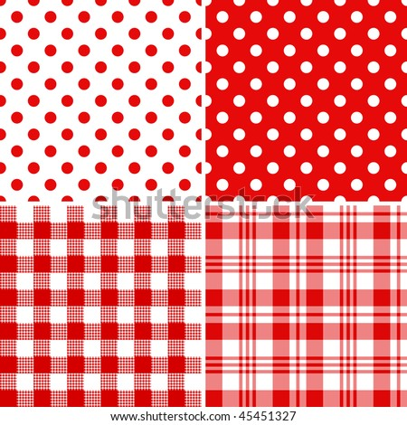Set classical red-white seamless patterns (vector) - stock vector