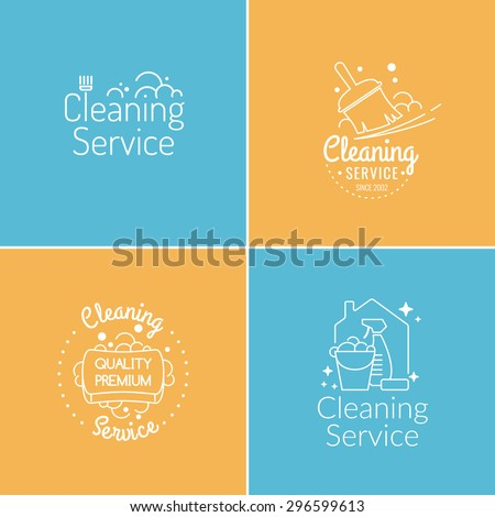 set. cleaning service. label...