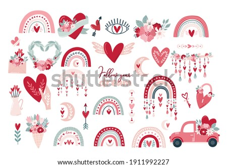Set clipart elements Valentine's day in boho style. Bohemian romantic pattern happy Valentine day. Boho rainbow, heart and flowers. Vector