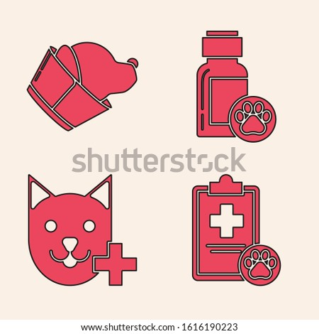 Set Clipboard with medical clinical record pet, Veterinary clinic symbol, Dog medicine bottle and Veterinary clinic symbol icon. Vector