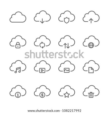 Set cloud icon. line icons system cloud vector illustration