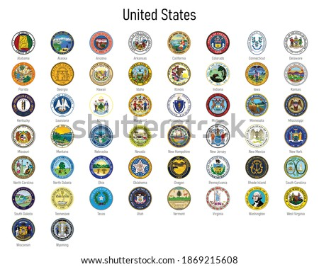 Set Coat of arms of the states of United States, All USA regions emblem collection Photo stock ©