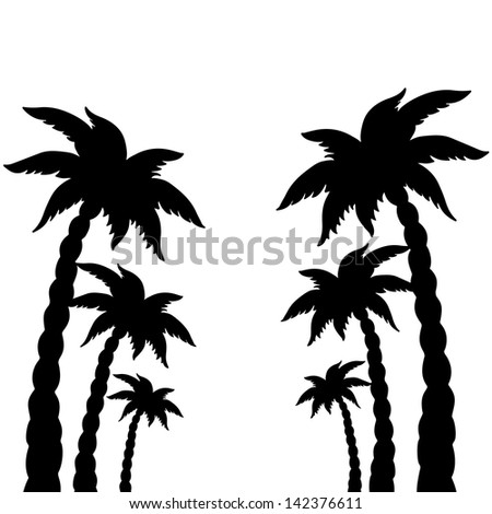 set coconut palms trees